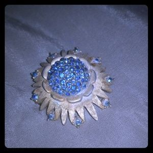 Gorgeous Blue & Gold Antique Brooch